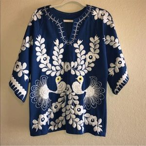 Vintage 70s Embroidery Peacock Hippie Shirt Tunic